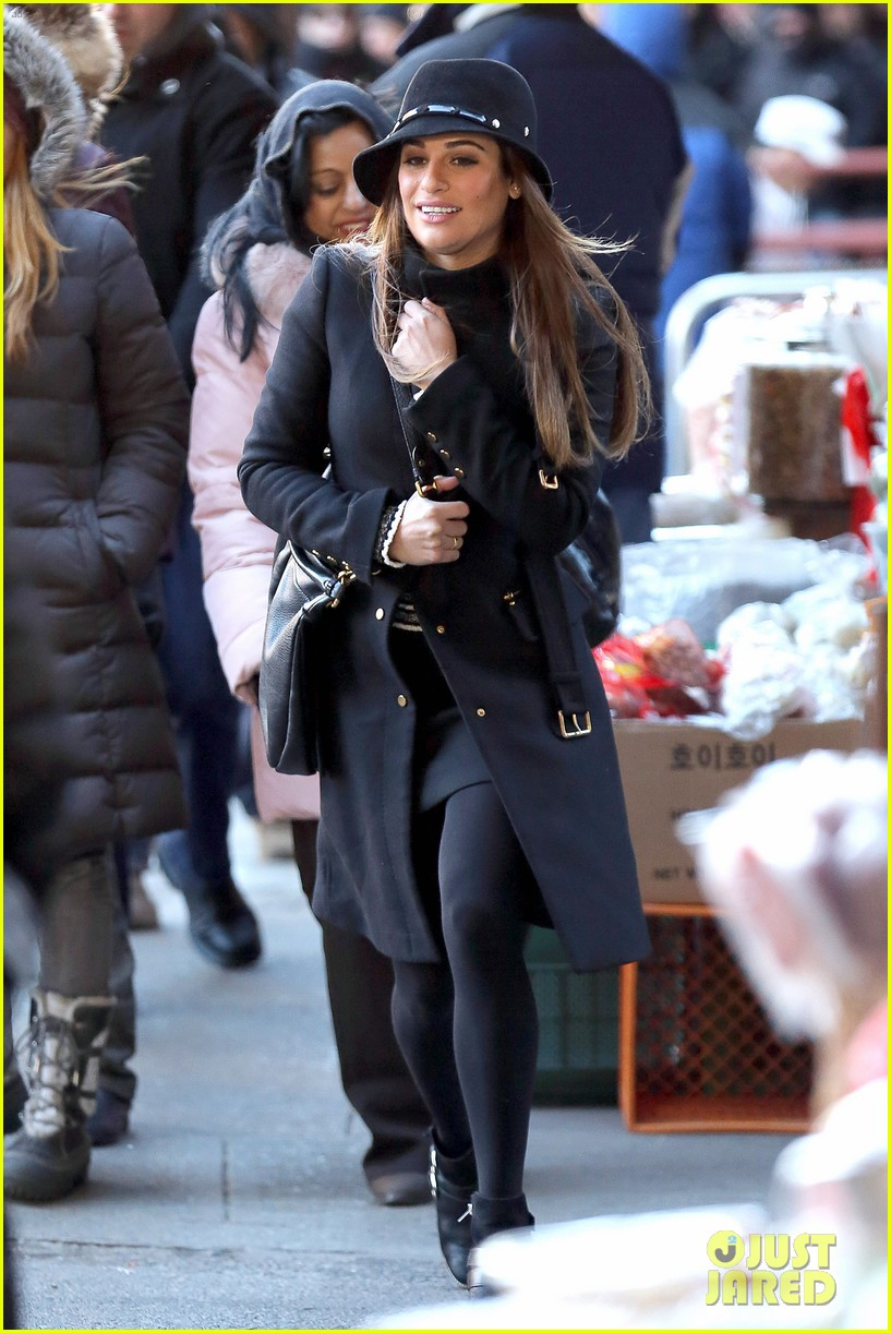 lea michele switches outfits around glee nyc 24