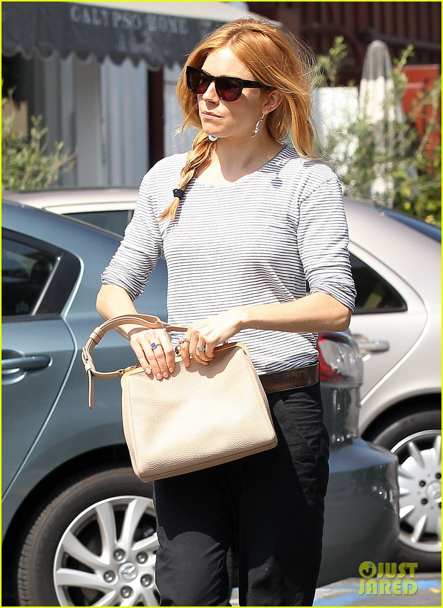 sienna miller sports red hair for busy beverly hills afternoon 043067743