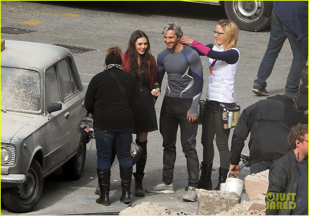 elizabeth olsen aaron taylor johnson get touched up avengers 023079043