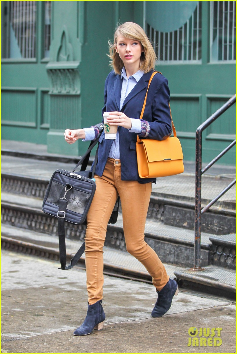 taylor swift brings her cat meredith around nyc in travel carrier 05