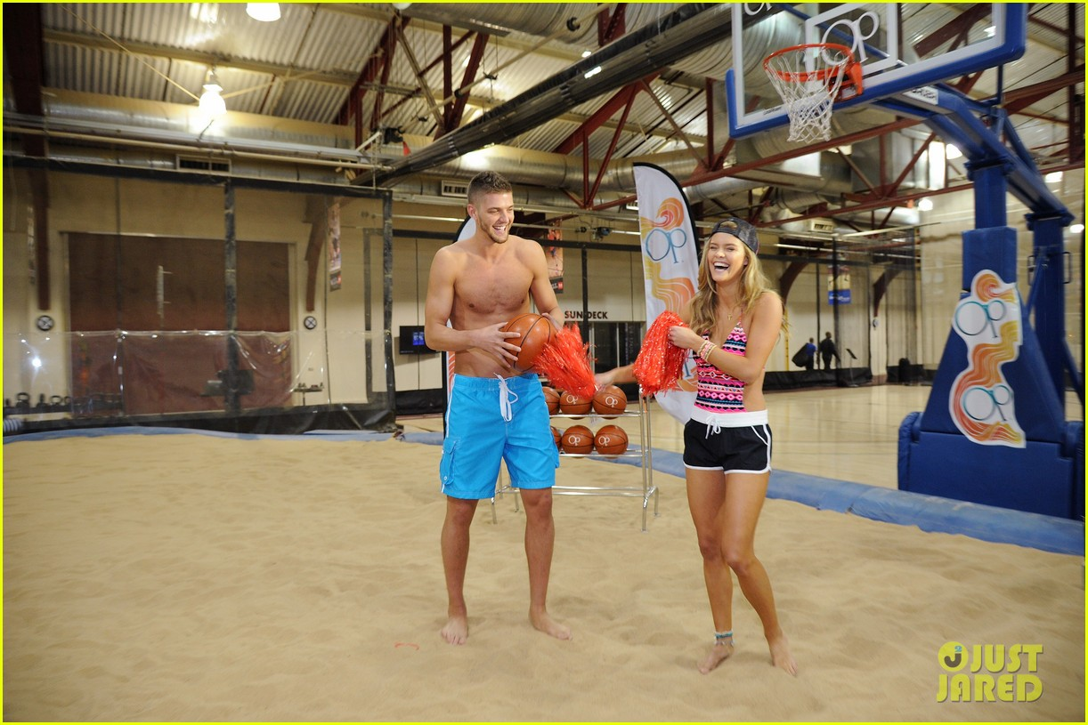 nina agdal shirtless hottie chandler parsons play basketball for ops spring kickoff 103082874