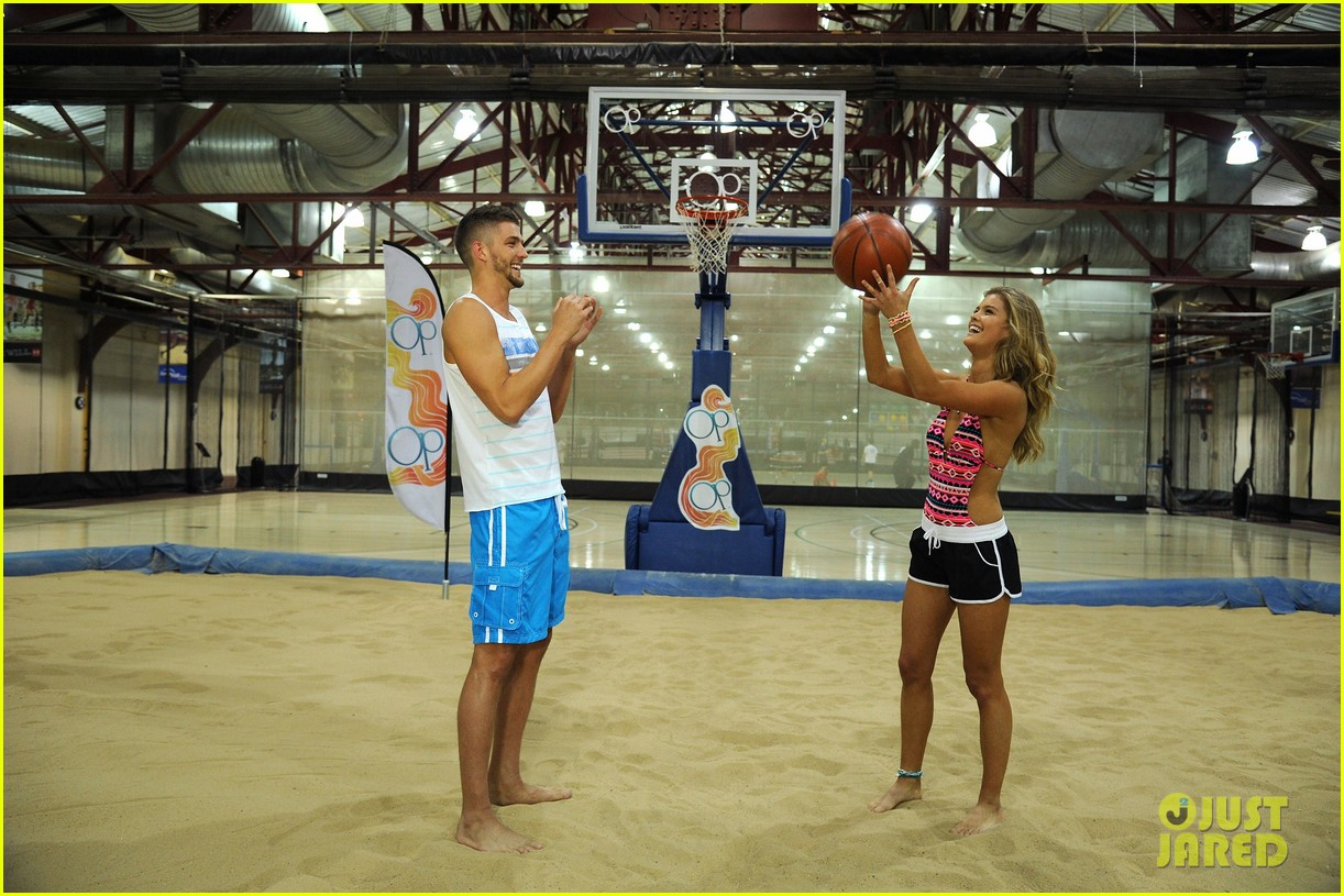 nina agdal shirtless hottie chandler parsons play basketball for ops spring kickoff 133082877