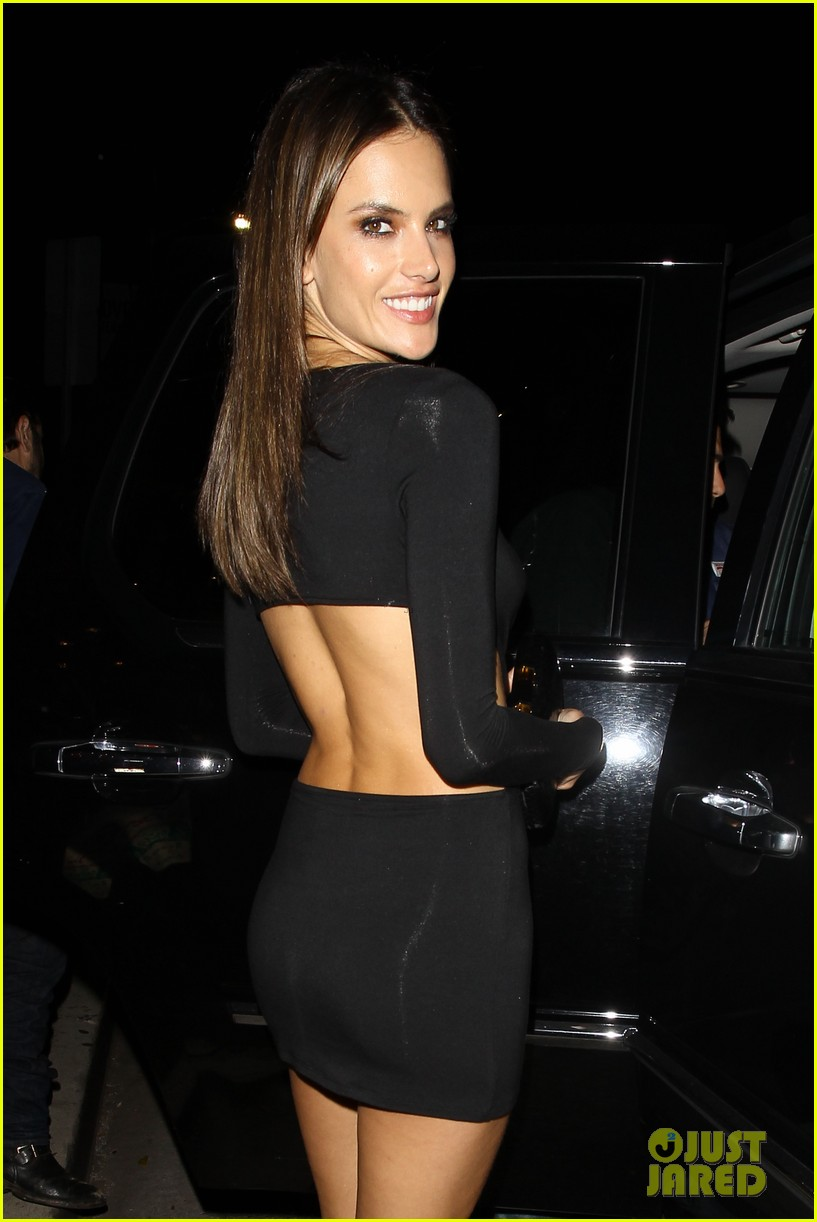 alessandra ambrosio sexy cut out dress 33rd birthday 06