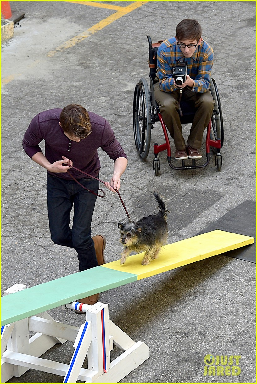 chord overstreet dotes on a dog its really cute 113098253