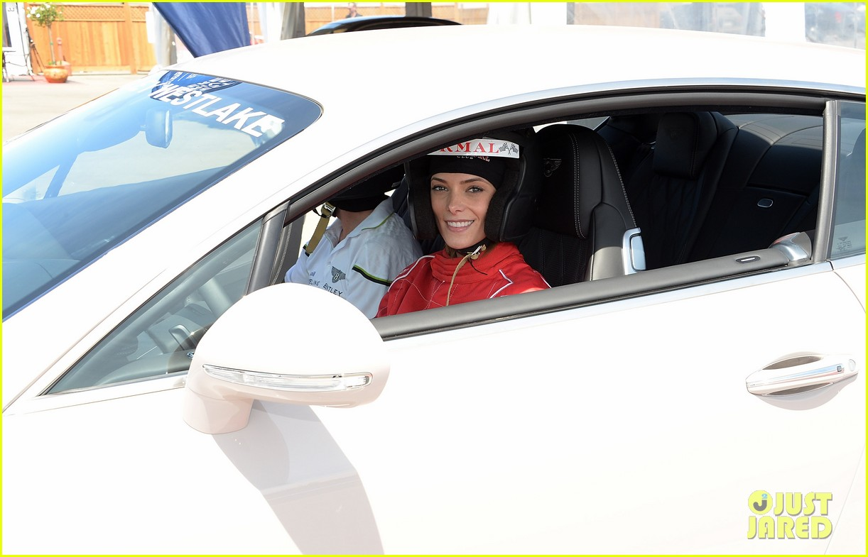ashley greene kicks off coachella weekend race cars 06