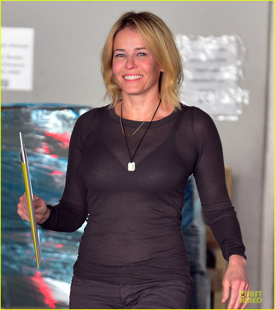 chelsea handler black bra in sheer top 02