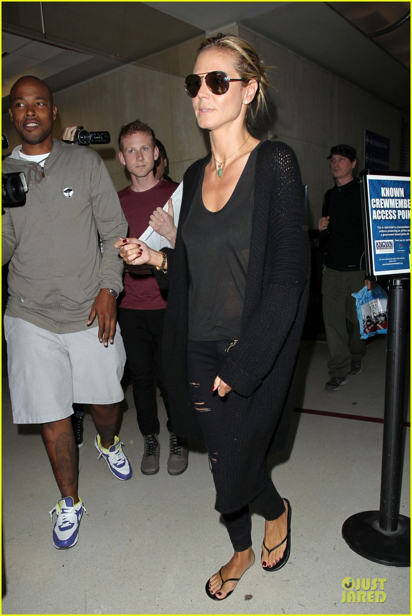 heidi klum sheer top at lax airport 073095205
