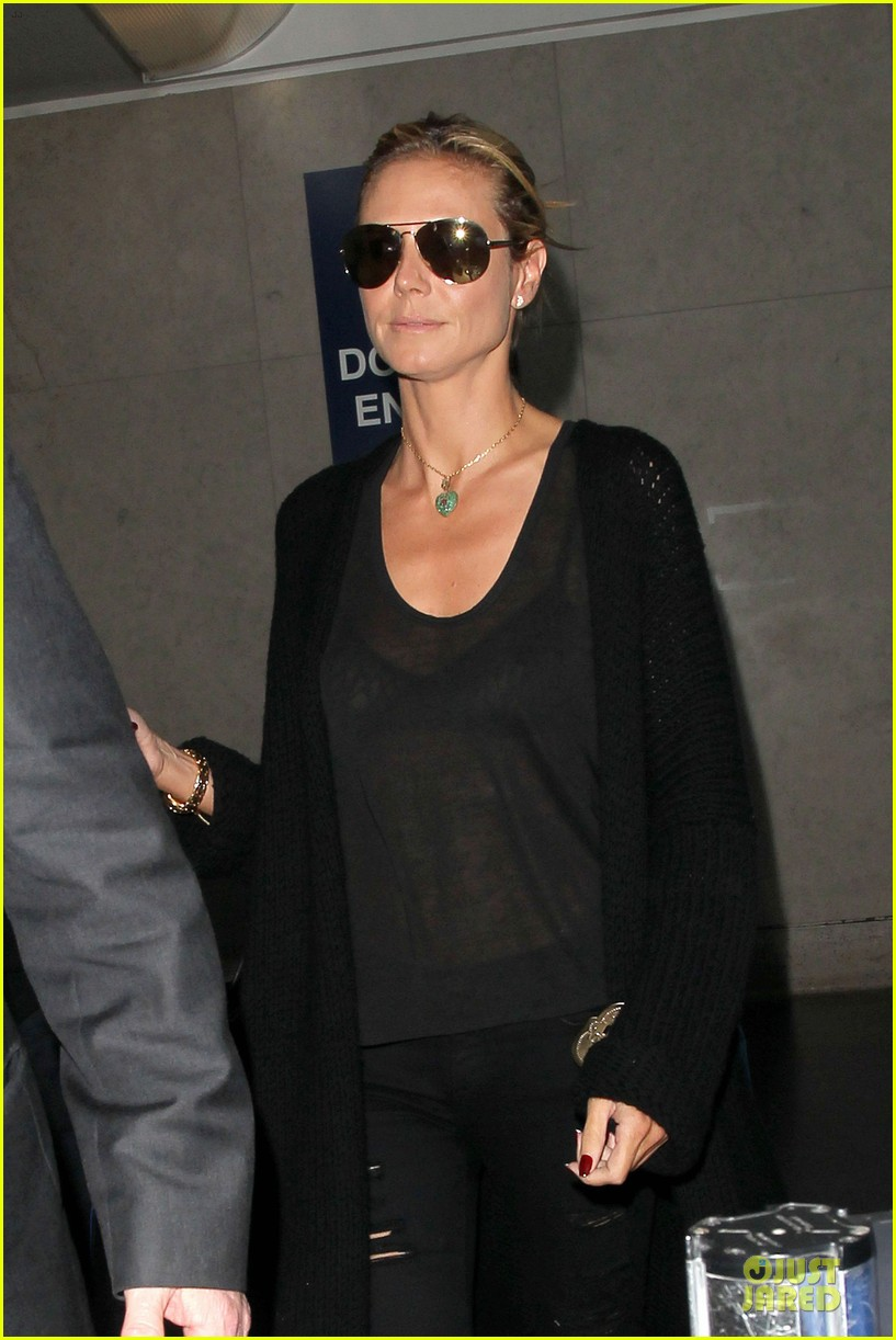 heidi klum sheer top at lax airport 14