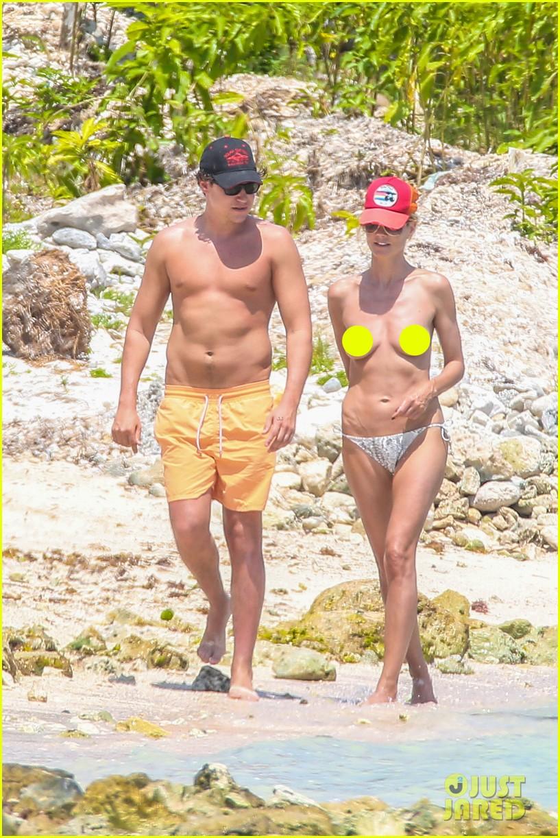 heidi klum goes topless at beach vito schnabel 033092986