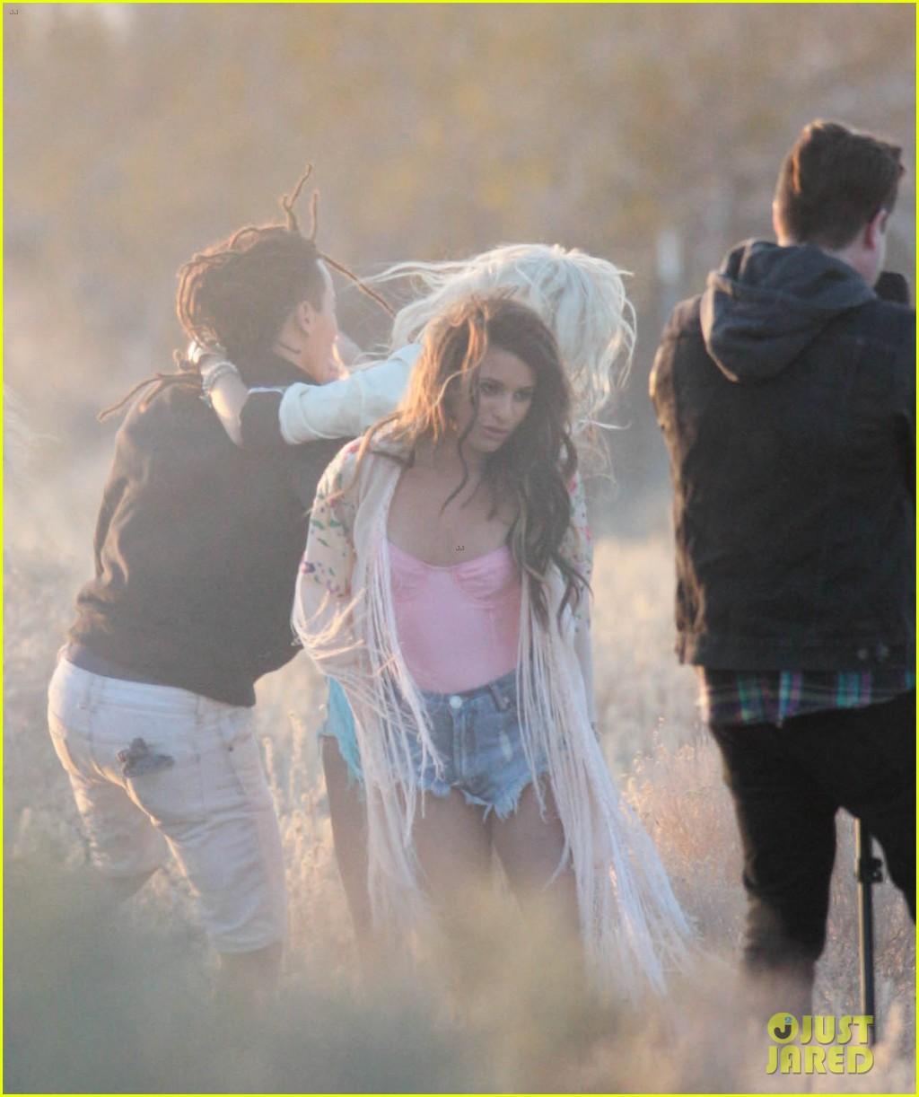 lea michele cozy co star music video set 30