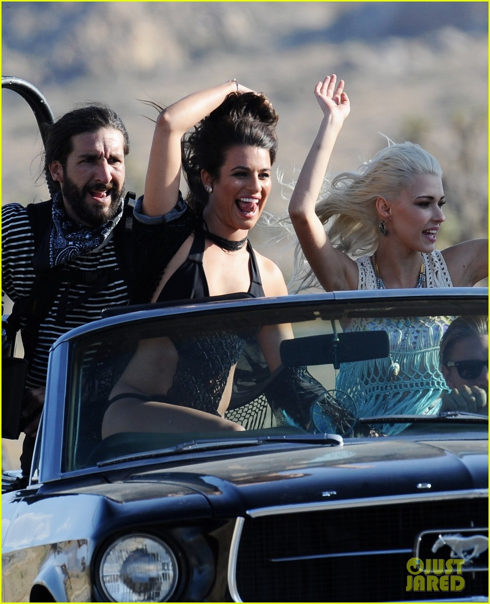 lea michele bikini on my way music video shoot 03