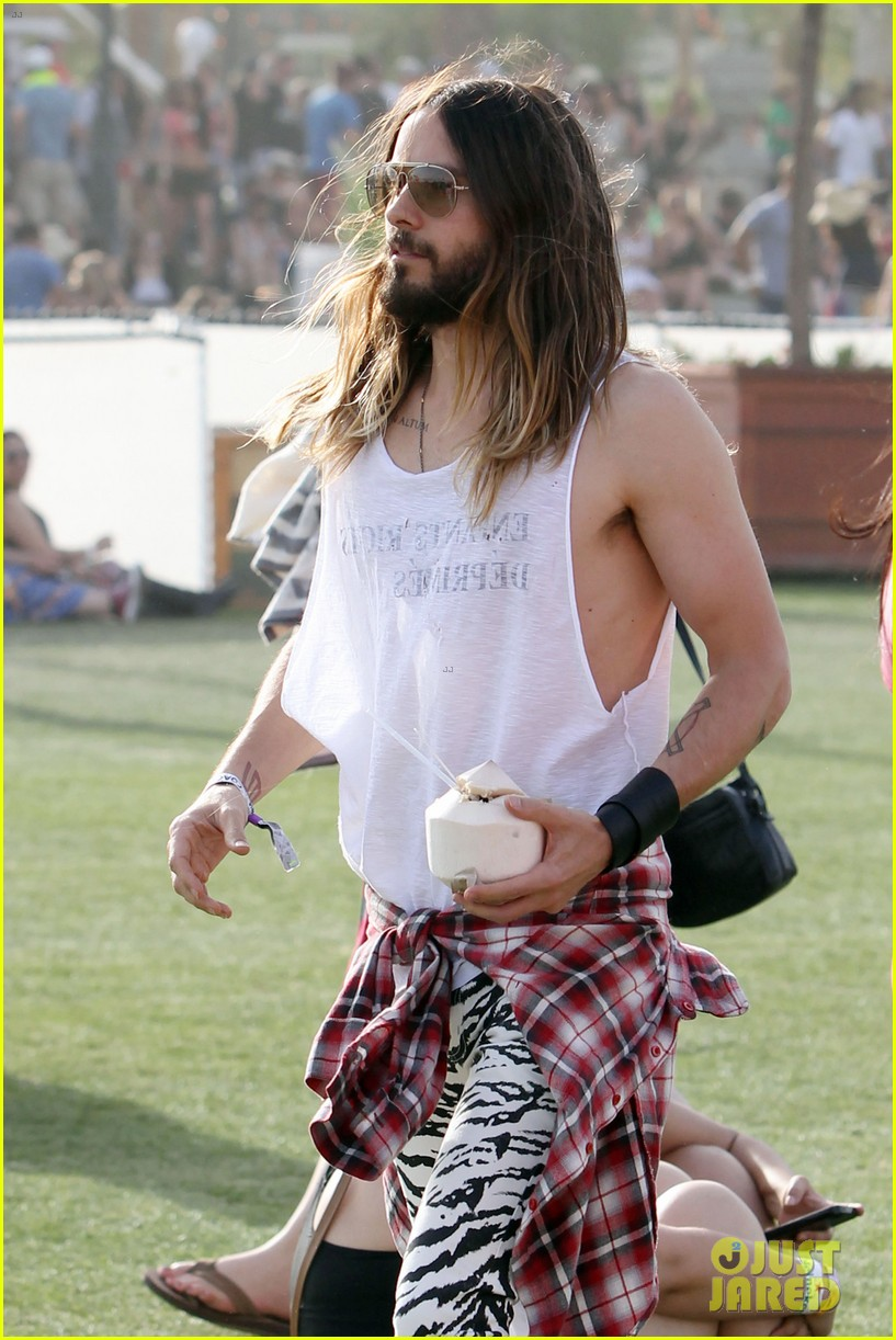 jared leto zebra print pants coachella day two 143090136