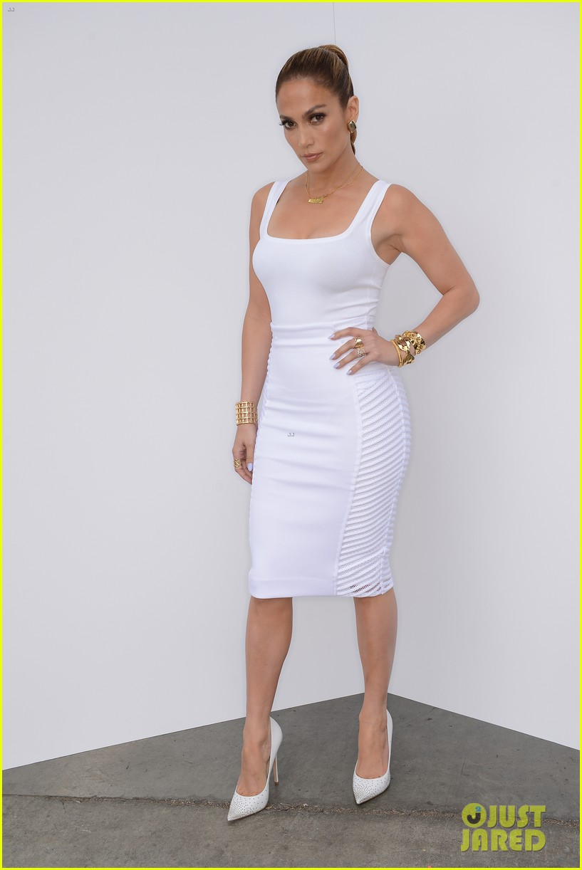 jennifer lopez white hot form fitting dress idol 03.3088717
