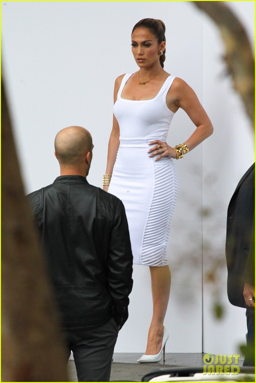 jennifer lopez white hot form fitting dress idol 123088726