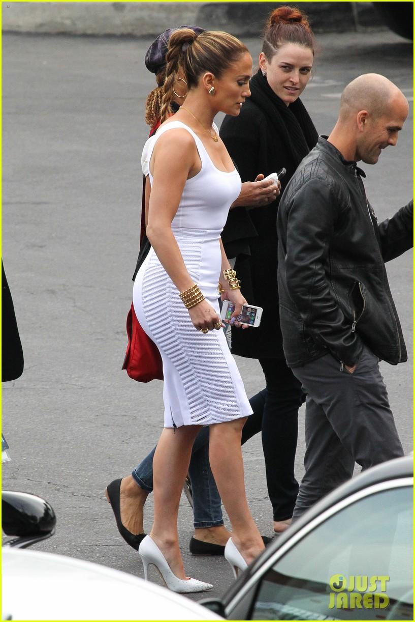 jennifer lopez white hot form fitting dress idol 183088732