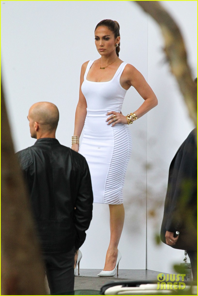 jennifer lopez white hot form fitting dress idol 243088738