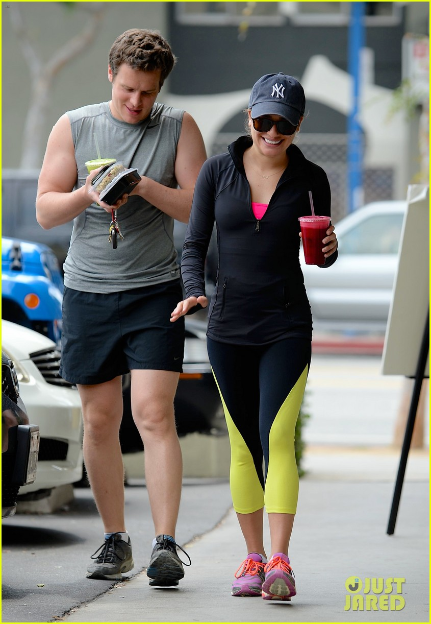 lea michele hike with buff bff jonathan groff 033094227