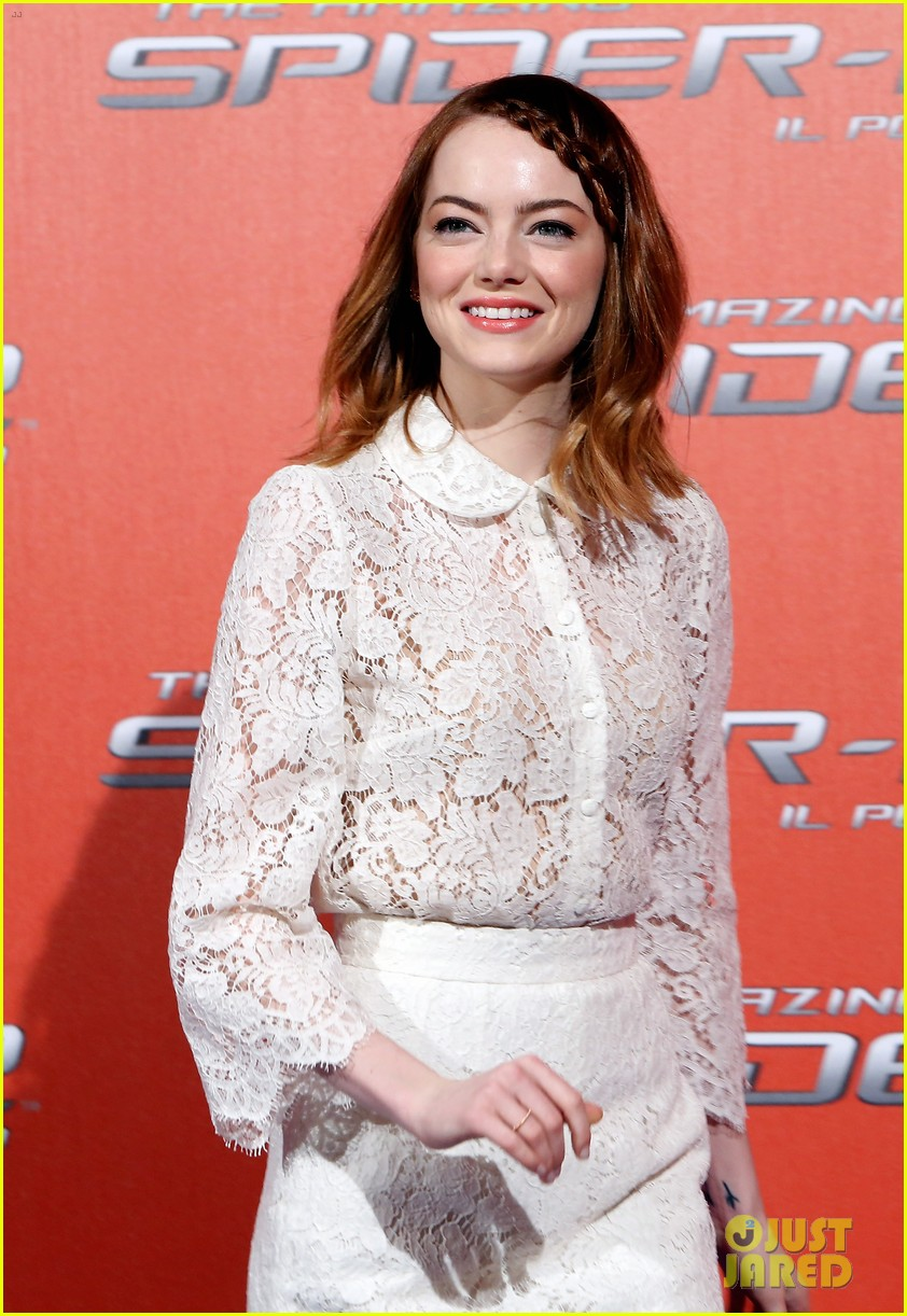 emma stone braids her hair spider man 2 rome photo call 113091754