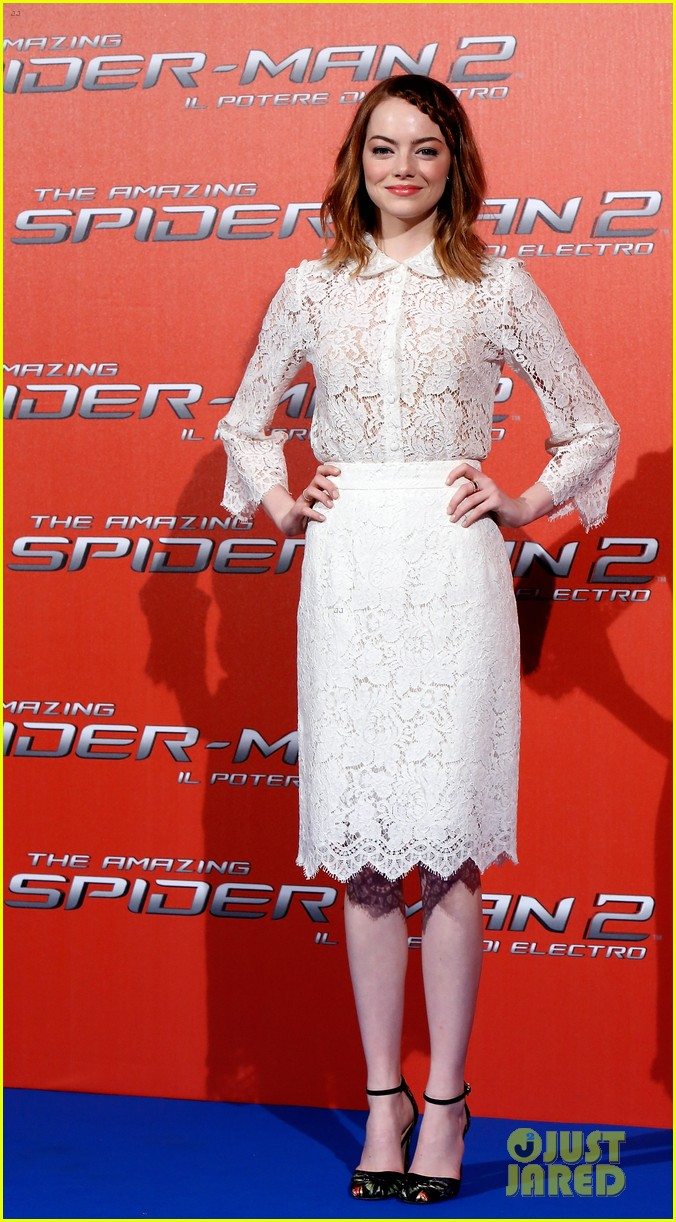 emma stone braids her hair spider man 2 rome photo call 12