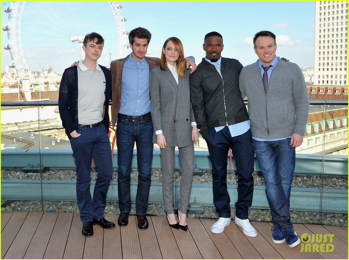 andrew garfield jamie foxx sandwhich emma stone at amazing spider man 2 london photo call 03