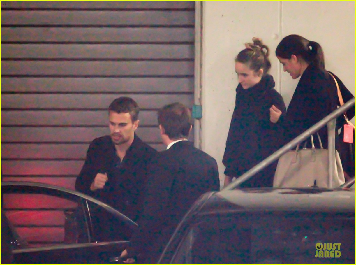 shailene woodley theo james hotel exit at night 12