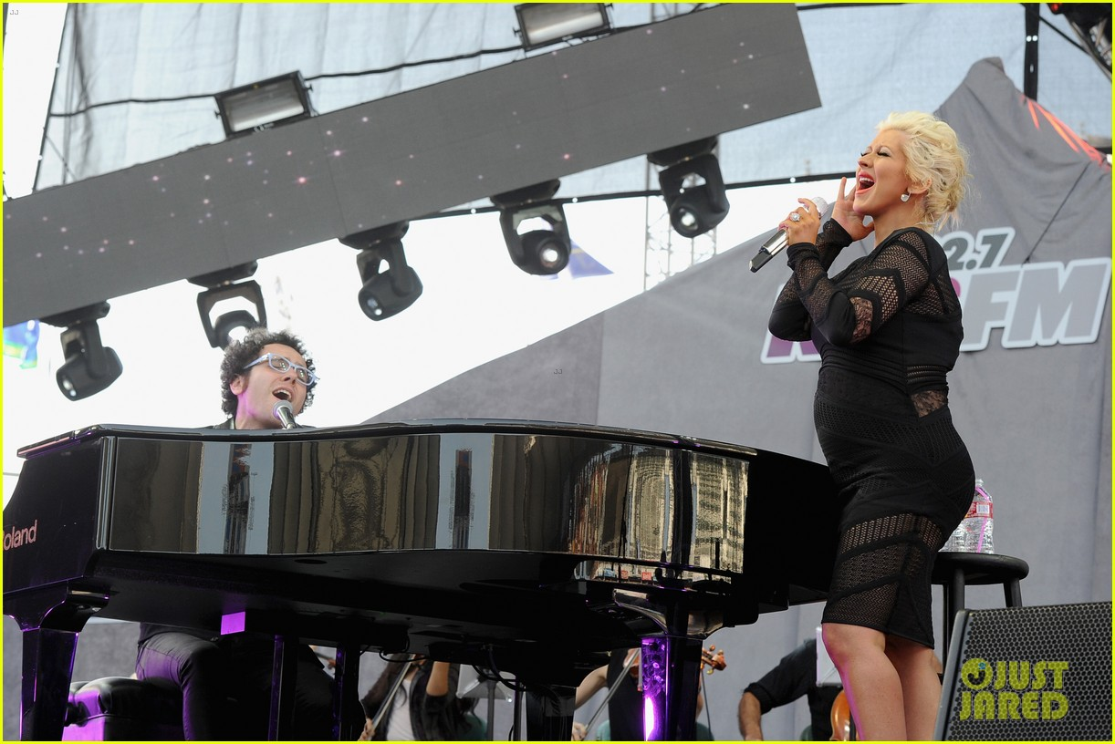 christina aguilera cradles large baby bump at wango tango 24