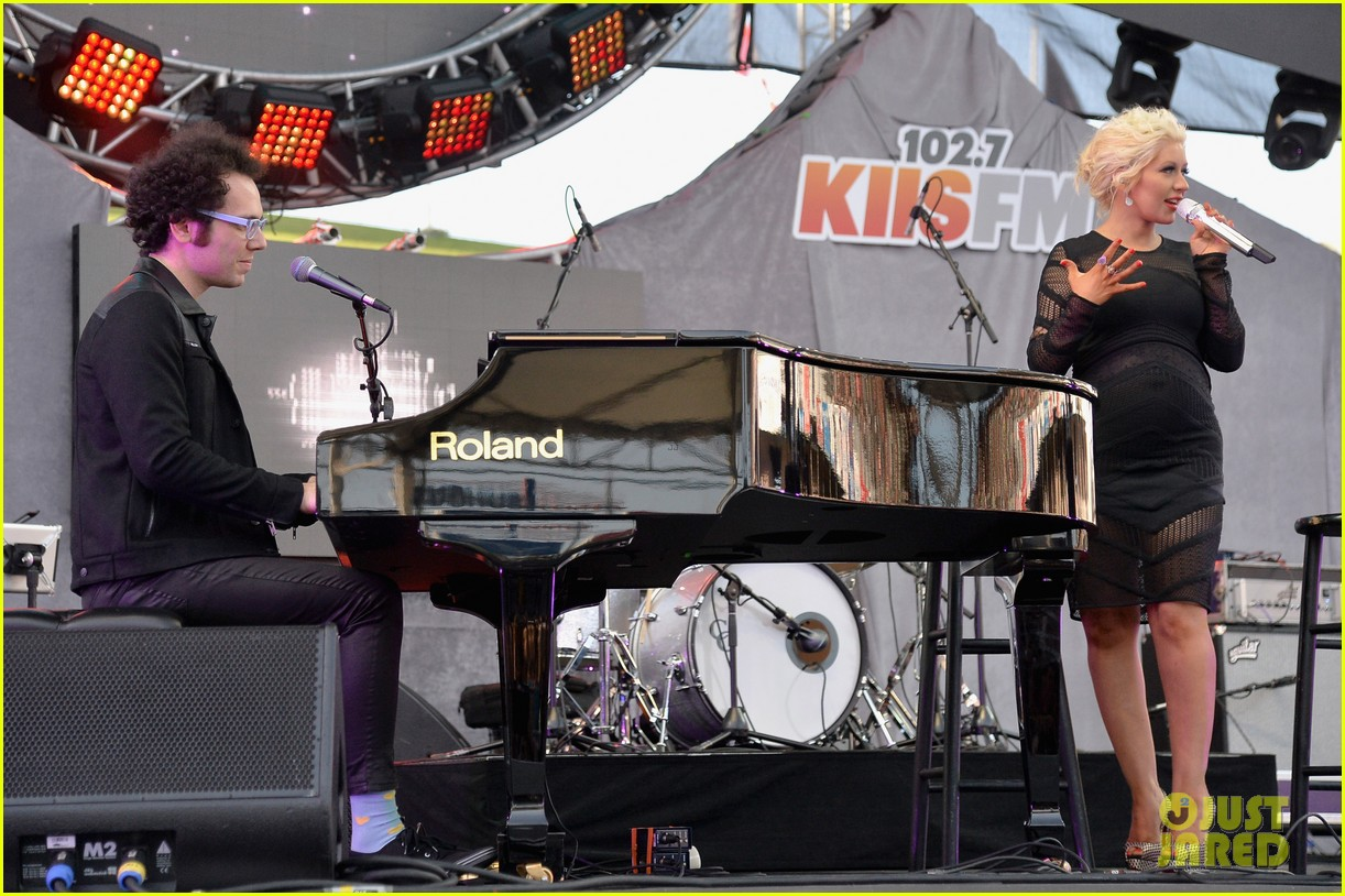 christina aguilera cradles large baby bump at wango tango 303110448