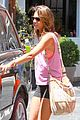 alessandra ambrosio shows off her super long legs in spandex shorts 22