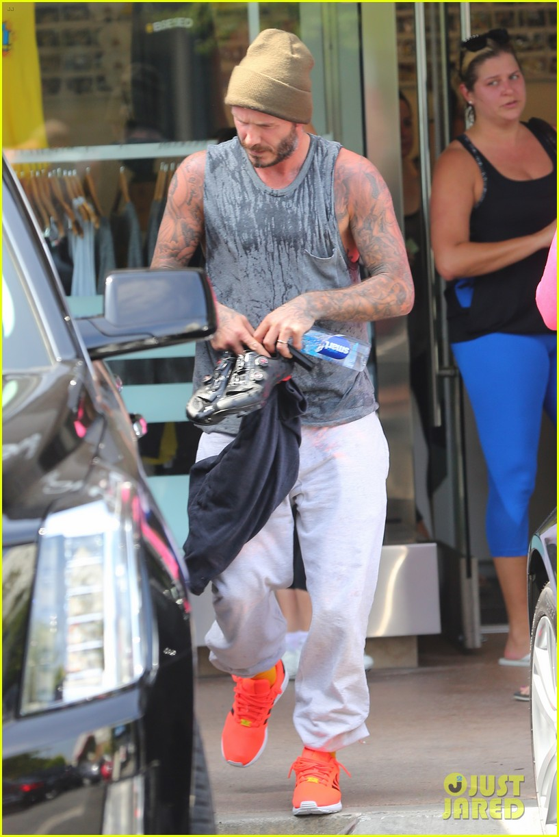 david beckham bares his arms after a soul cycle workout 083124498