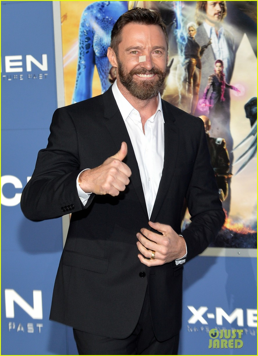 hugh jackman wears bandage on nose to x men premiere 05