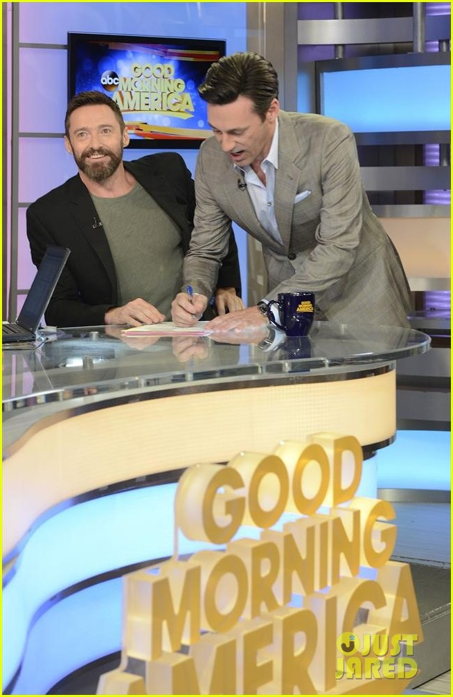 hugh jackman jon hamm bromance moment buddy around at gma 07