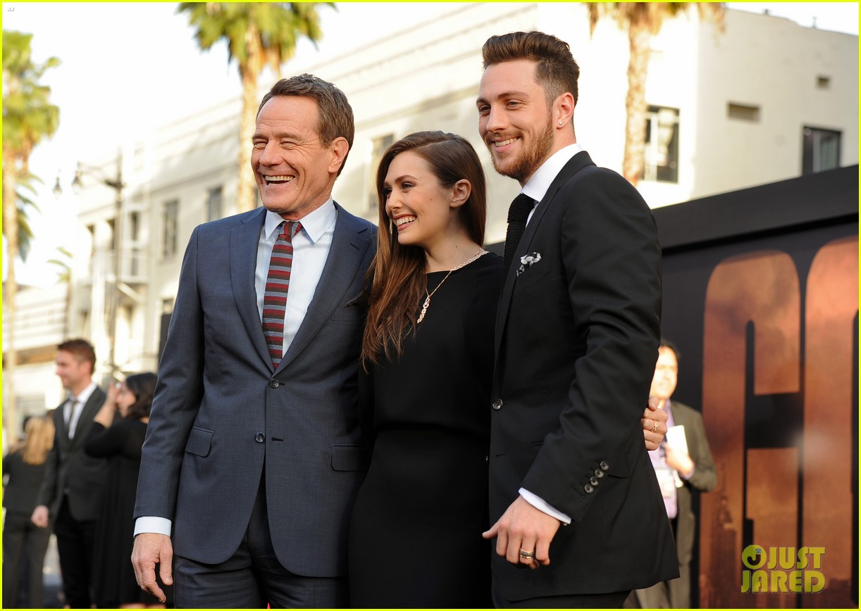 aaron taylor johnson brings wife sam to godzilla premiere 073109061