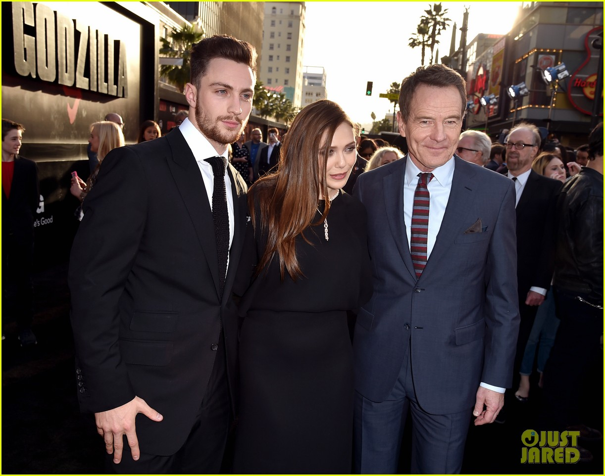 aaron taylor johnson brings wife sam to godzilla premiere 093109063