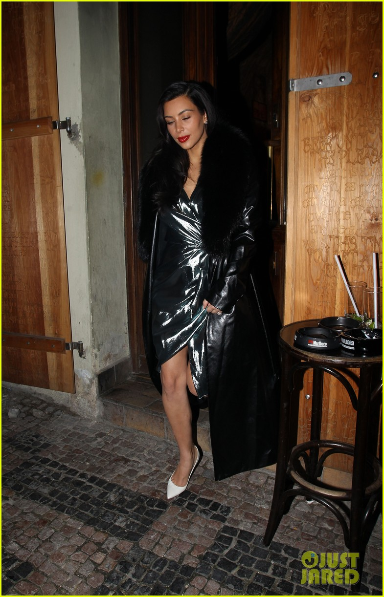 kim kardashian wears flashy dress for honeymoon date night 08