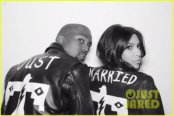 kim kardashian kanye west wear matching just married jackets 01