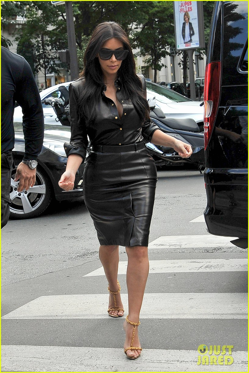 kim kardashian wears tight leather dress for pre wedding shopping 12