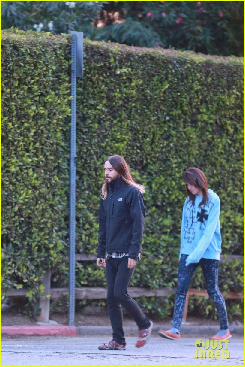 jared leto goes for a hike with a female companion 183109506