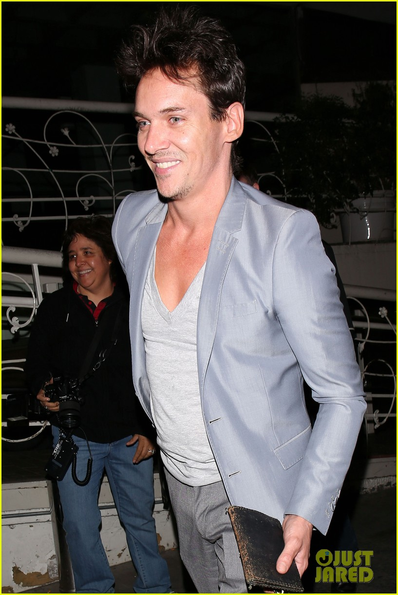 jonathan rhys meyers wears a deep v neck t shirt displays some chest 063107685