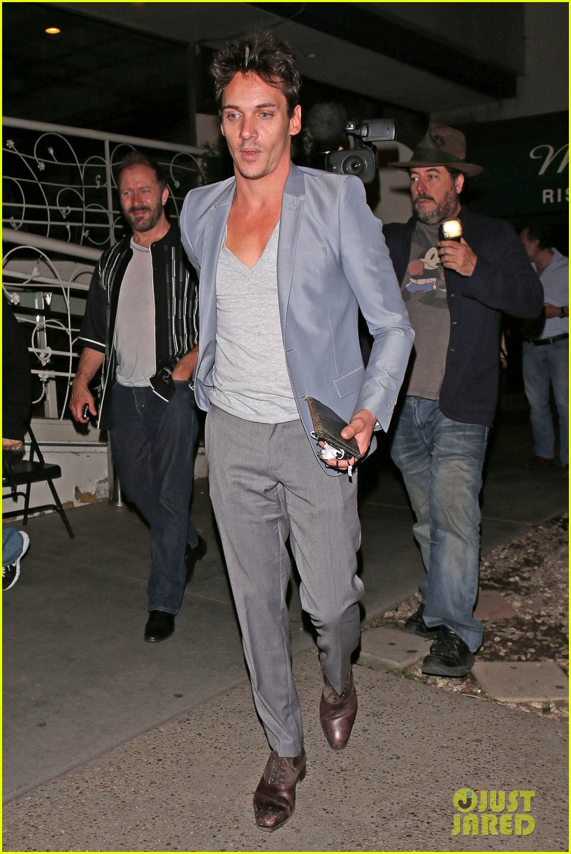 jonathan rhys meyers wears a deep v neck t shirt displays some chest 073107686