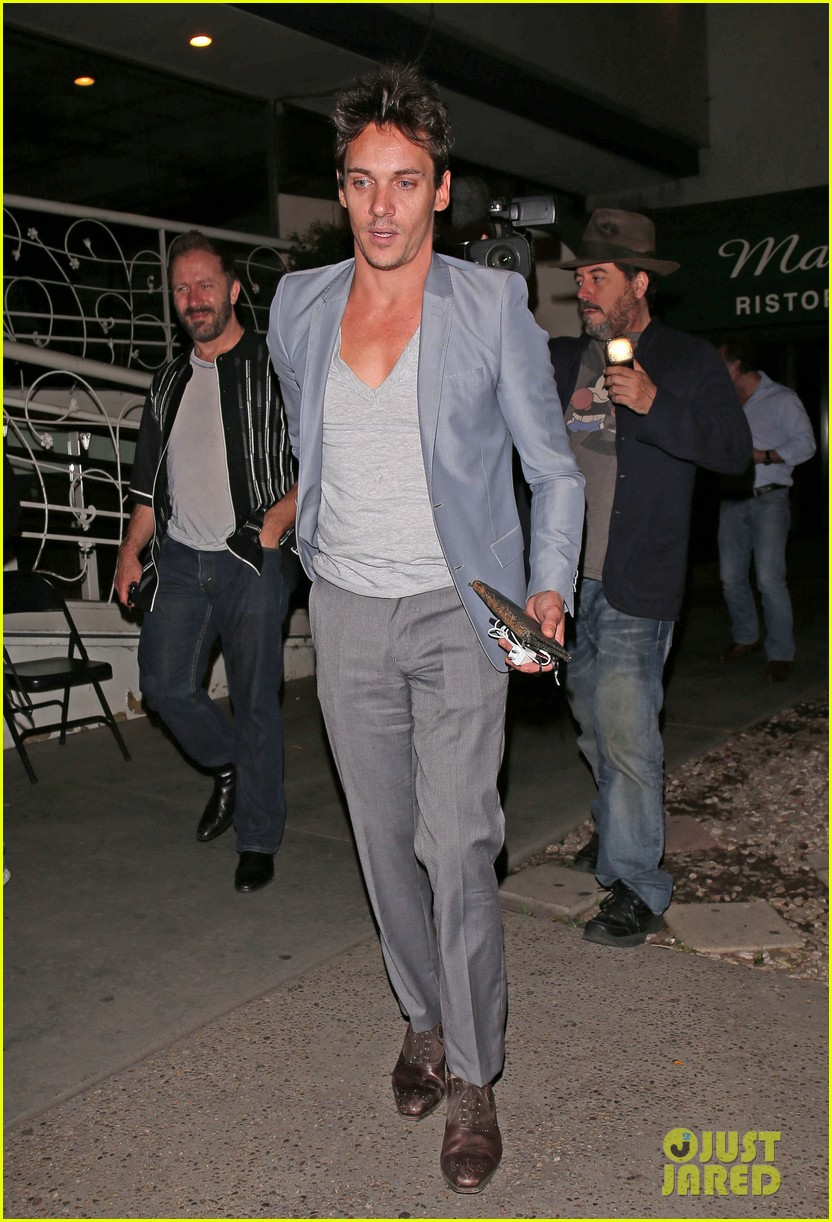 jonathan rhys meyers wears a deep v neck t shirt displays some chest 093107688