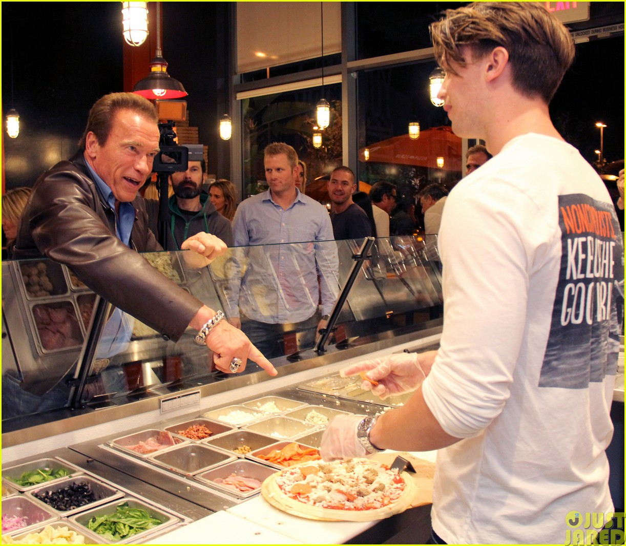 patrick schwarzenegger celebrates the opening of blaze pizza with family and friends283121556