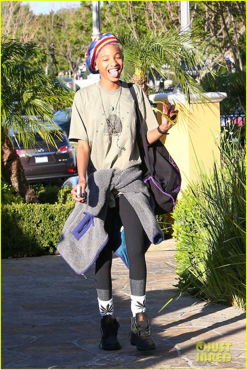 willow smith wears socks with marijuana leaf on the front 153102962
