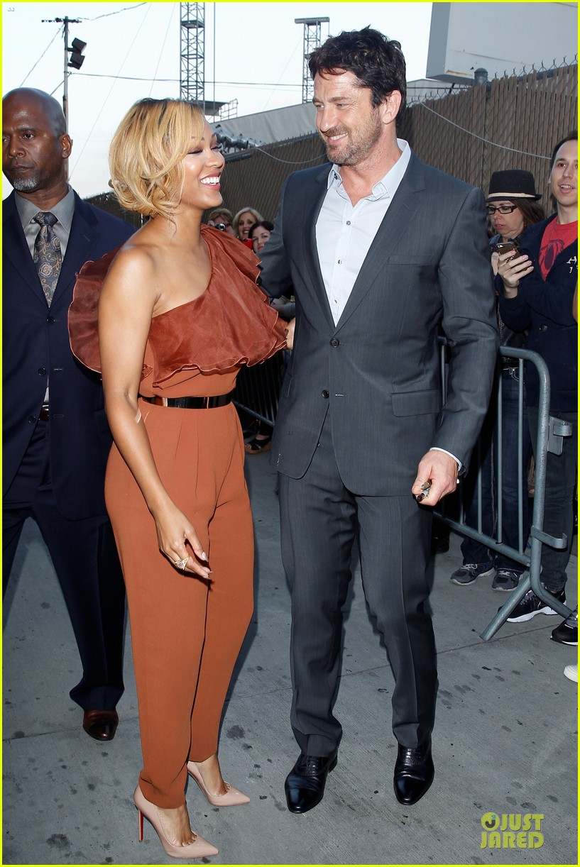 gerard butler meagan good picture at jimmy kimmel live 19