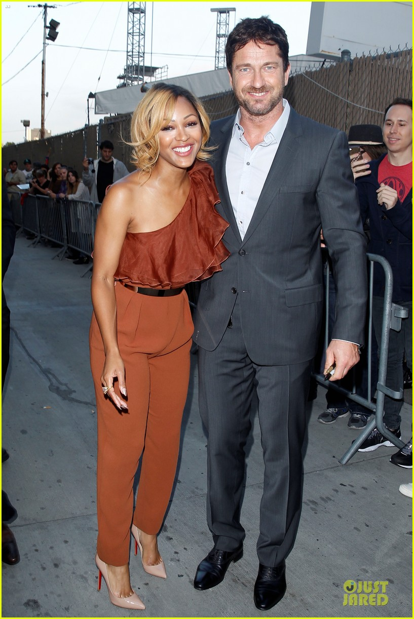 gerard butler meagan good picture at jimmy kimmel live 22