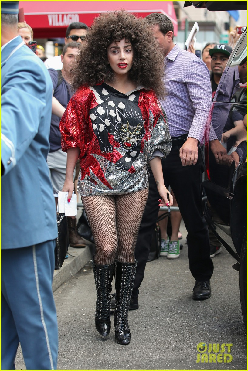 lady gaga debuts huge curly teased hairdo thick eyebrows in nyc 073129935