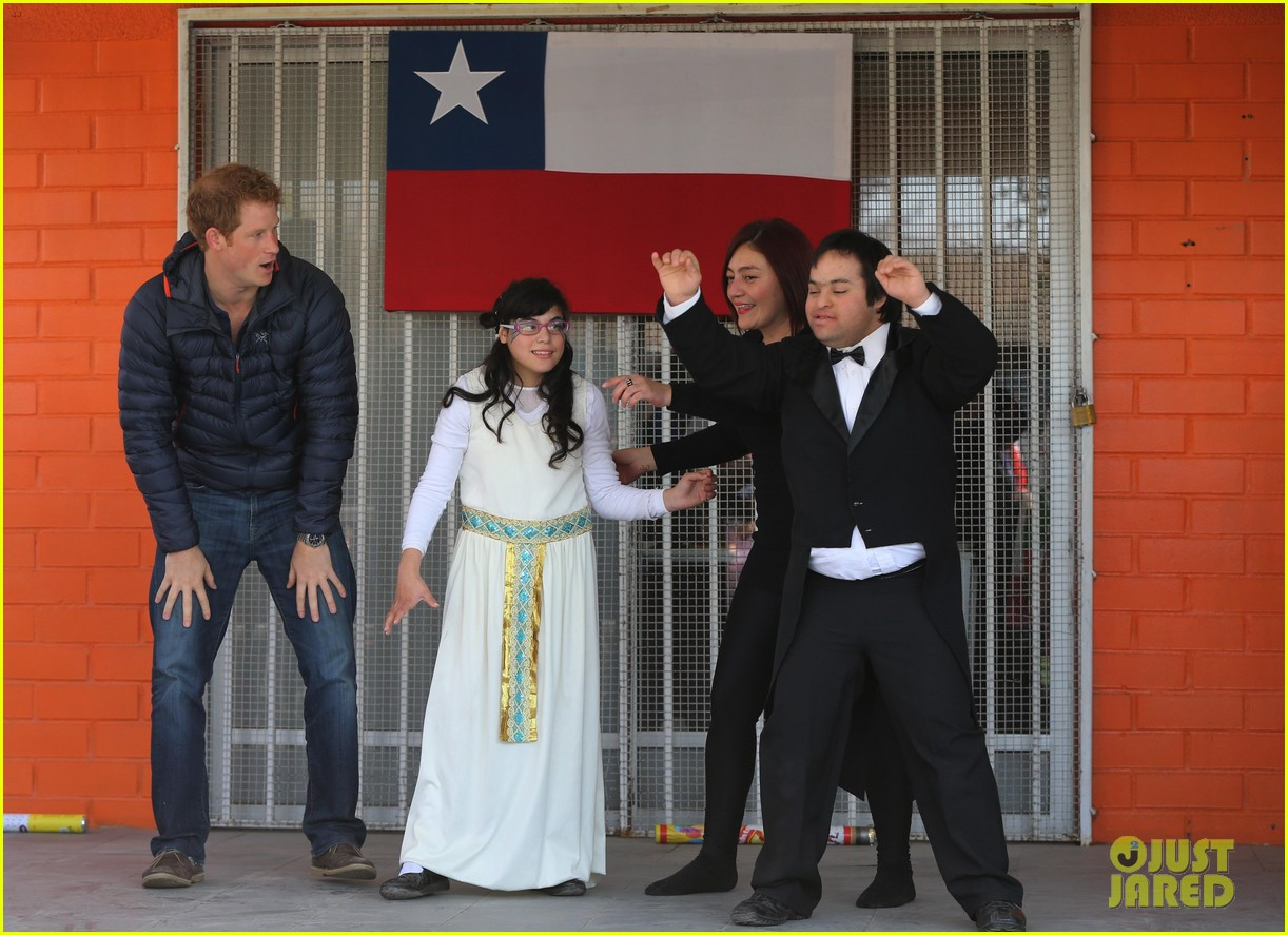 prince harry busts a move children chile visit 19