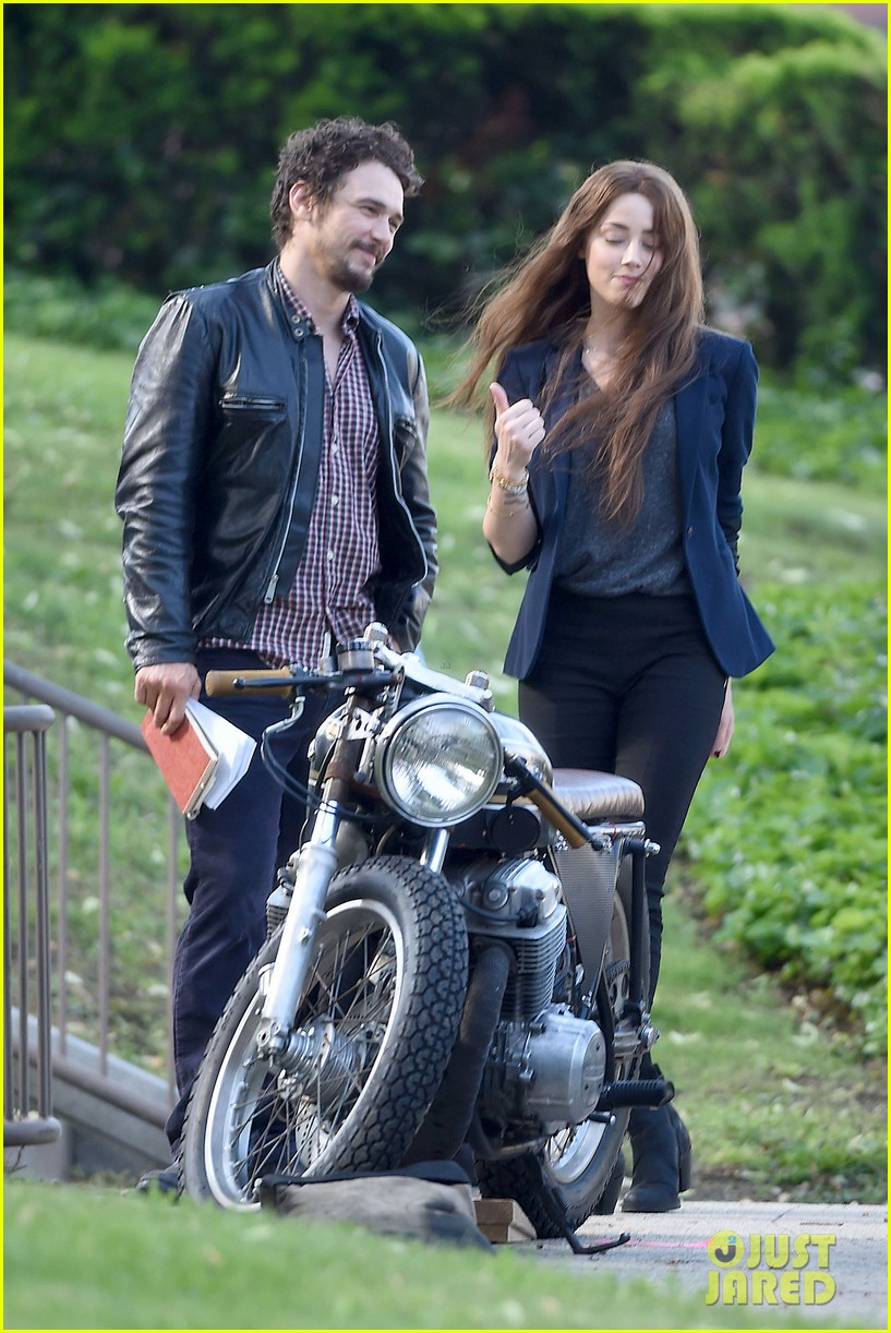 james franco wraps his arms around amber heard for motorcycle ride 033128093