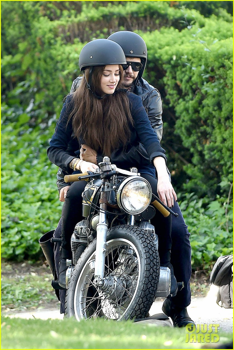 james franco wraps his arms around amber heard for motorcycle ride 06