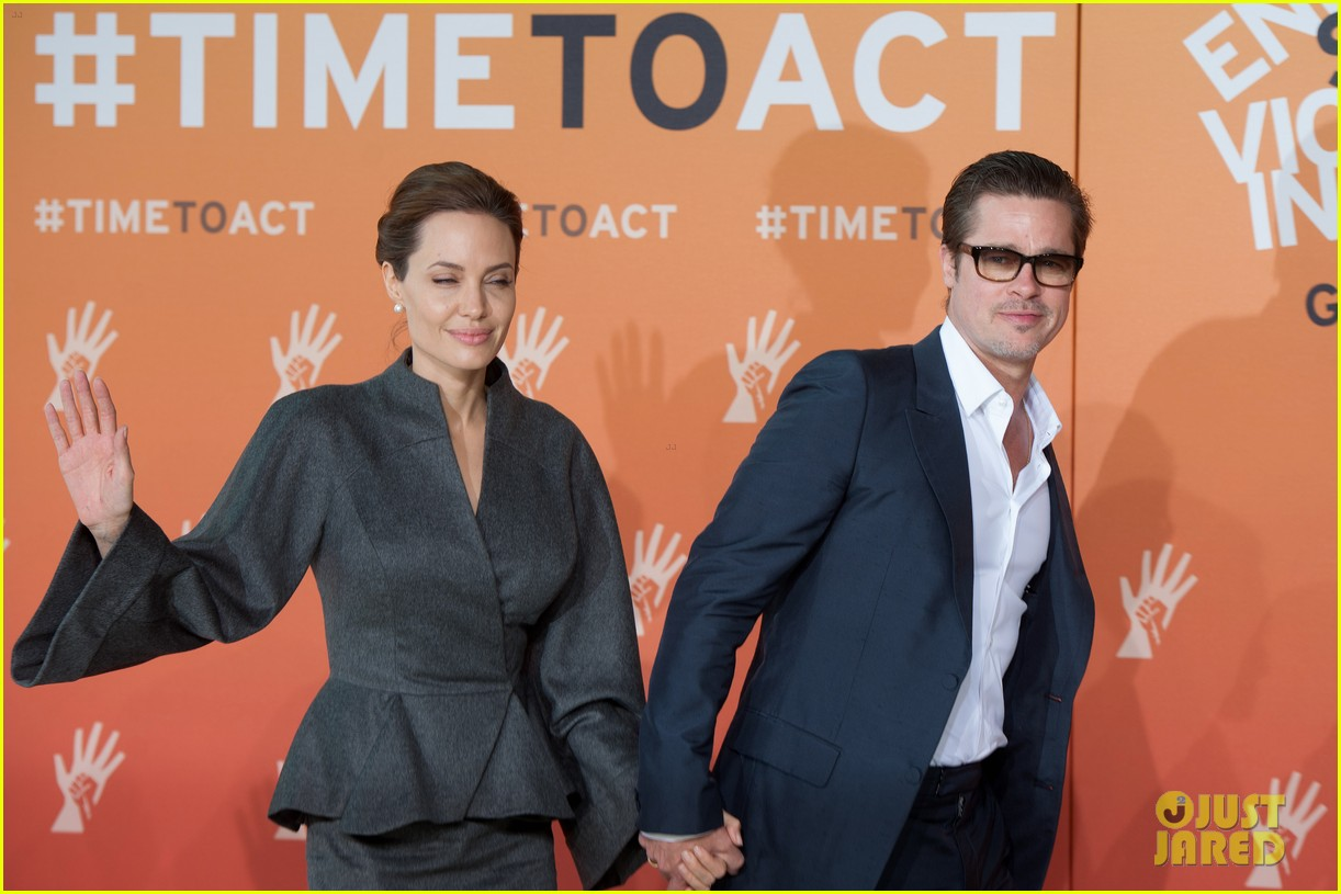 angelina jolie brad pitt keep hand in hand at the global summit end sexual violence 093134587
