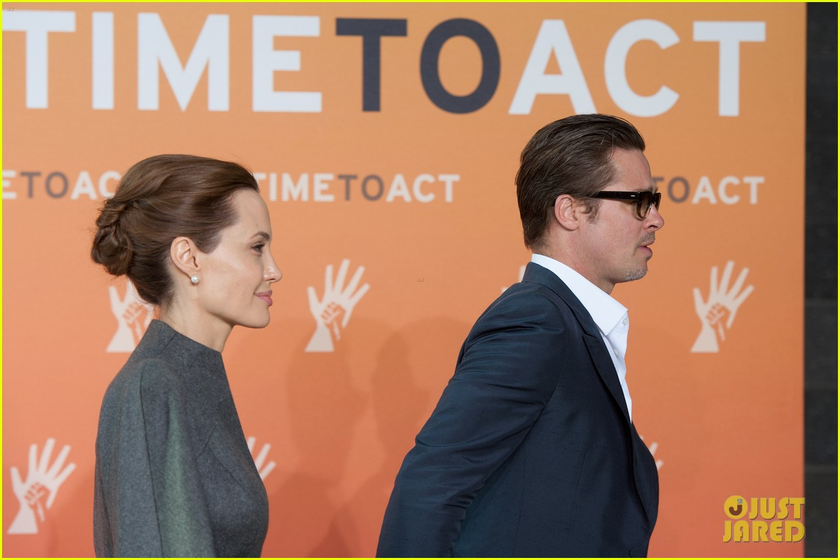 angelina jolie brad pitt keep hand in hand at the global summit end sexual violence 123134590